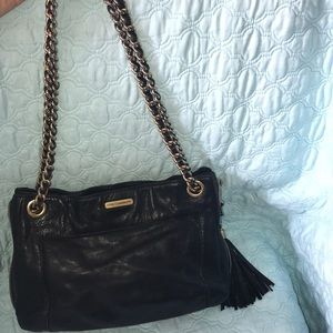 Rebecca Minkoff Black Leather Purse Chain Tassel